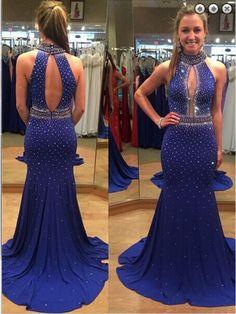 Hlater Open Back Beading   Floor Length Prom Dress Evening Dresses #promdresses #SIMIBridal