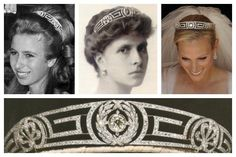 Three generations of royal women linked by the Meander Tiara. Princess Alice of Greece (center) gave this tiara to her daughter-in-law, Queen Elizabeth II, as a wedding gift, who in turn gave it to Princess Anne (left). Princess Anne's daughter, Zara Phillips, wore this tiara on her wedding day, July 2011, (right).