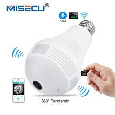 MISECU 5.0MP 3.0MP 1.3MP 360 degree VR Audio 128GB slot Wireless IP Camera Bulb Wi-fi FishEye Home Security WiFi Camera security