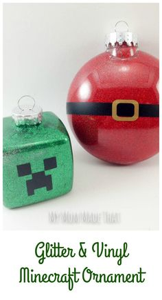 Glitter And Vinyl Minecraft Ornament For Christmas