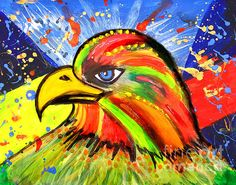 Eagle Pop Art by Fine Artist Julia Apostolova This image is a print of original SOLD Acrylic Hand Made Pop Art ''Eagle''. The original Contemporary Pop Art modern painting is painted on gallery wrapped acid free canvas. Only fine quality art materials have been used. Final coat of fine art varnish was applied to preserve your investment against UV and dust. Signed and dated by the artist.The original Pop Art ''Eagle'' has been sold, but Similar Painting Can Be Recreated.