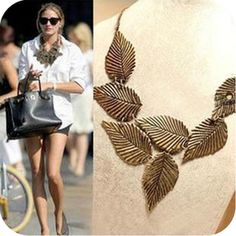 Vintage Antique Bronze Leaves Bib Necklace [0049] - $2.07 : Supply all kinds of cheap fasion jewelry