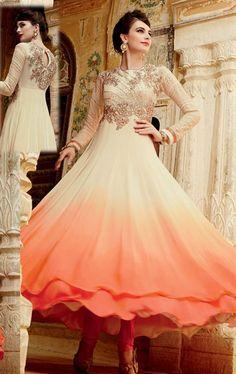 Artistic Shaded Cream and Orange Designer Anarkali Suit