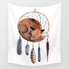 Fox Dreamcatcher Wall Tapestry by Goosi   Society6