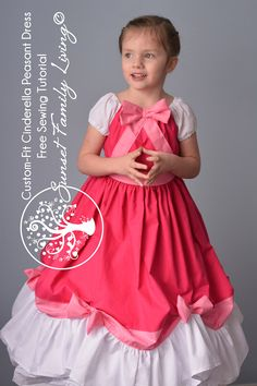 Custom Fit Cinderella Peasant Dress Free Tutorial -- There's a matching dress for her her American Girl Doll too! Sewing Projects For Kids, Sewing For Kids, Baby Sewing, Free Sewing, Little Girl Dresses, Girls Dresses, Princess Dress Patterns, Costume Carnaval, Disney Dress Up