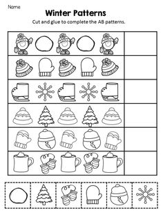 Pattern Print and Go Activities! Great for morning work, homework or as a math . - Kidology By Krista Reid - Teachers Pay Teachers Store Kindergarten Math Worksheets, Preschool Literacy, Kindergarten Activities, Christmas Activities For Toddlers, Toddler Activities, Pattern Worksheet, Christmas Worksheets, Winter Theme, Math Lessons