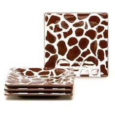 Laurie Gates Safari Giraffe Appetizer Plates, Set of 4
