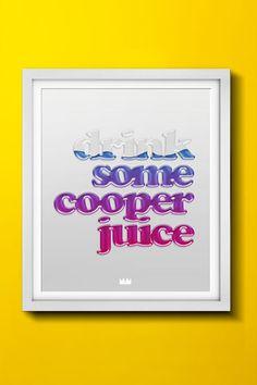 COOPER JUICE - Tipografia saudável. Lindo poster na medida de 55x66cm. Disponível na loja http://locomattive.com