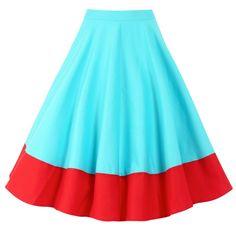 'Ohlson' Aqua Red Circle Skirt This. High Skirts, Red Skirts, Circle Skirts, Vintage Inspired Dresses, Vintage Outfits, Vintage Fashion, Vintage Style, Lindy Bop Dress, Colors