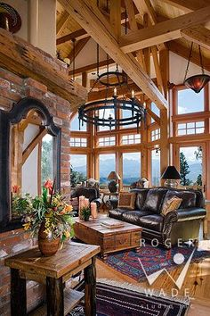 Roger Wade studio interior design photography of living room in rustic western timber frame home . Looks out towards the San Juan Mountains, Ridgway, Colorado, by Bensonwood wood furniture living room decorating ideas Timber Frame Homes, Timber House, Timber Frames, Interior Design Photography, Architectural Photography, Rustic Home Design, Log Cabin Homes, Log Cabins, Studio Interior