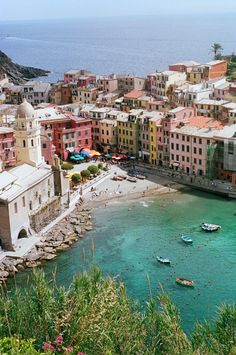 Cinque Terre, Italy---I!!! Look at that little cove...I've totally been swimming there!!!!!