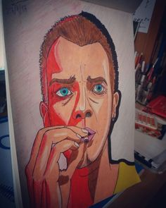 Renton (Ewan McGregor) - Trainspotting  color drawings pencil