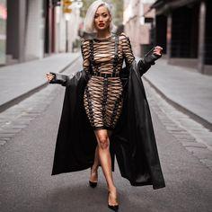 Nude & Black Lace Up Dress