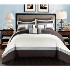10 Piece Falconia Hotel Collection Comforter Set, Black