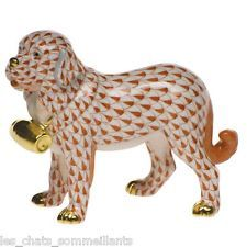 HEREND, ST. BERNARD DOG WITH PUNCHEON PORCELAIN FIGURINE, RUST, FLAWLESS, $505  $310