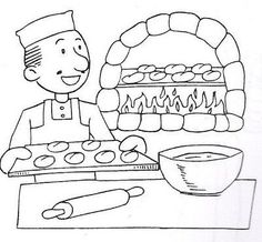 dibujos panaderia para colorear - Buscar con Google Art Drawings For Kids, Outline Drawings, Disney Drawings, Colouring Pages, Adult Coloring Pages, Coloring Books, Preschool Rules, Preschool Activities, Kindergarten Jobs