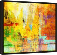 Quadro Abstrato Estudo Amarelo e Vermelho – Carlos Alber — Reprodução em alta definição (gicleé) com pigmento mineral sobre canvas premium e acabamento texturizado.