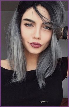 Ash Gray Hair Color, Ombre Hair Color, Cool Hair Color, Grey Hair Dark Roots, Hair Highlights, Balayage Hair, Gray Balayage, Lob Hair, Hair Looks