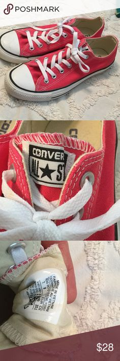 Hot pink CONVERSE  Men's 7 women's 9 Very gently used hot pink CONVERSE.  WOMEMS size 9. Couple of scuff marks  excellent condition. Converse Shoes Sneakers