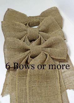 Handmade Burlap Bows Wedding Bow Set Pew by CottonRidgeEmporium