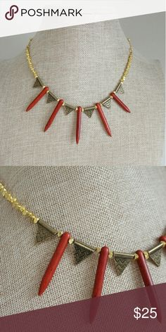 """Tribal Red Spiked Necklace Part of the """"Tribe Vibes"""" collection by JFOX Jewelry - red howlite spiked necklace with metallic spacer beads. Necklace is brand new from a small handmade jewelry company. JFOX Jewelry Jewelry Necklaces"""