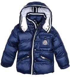 Moncler Kids Jacket Boy Dark Blue White