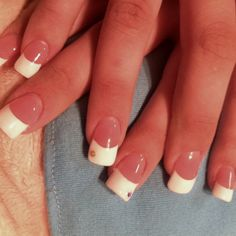 Gel nails using IBD extreme French gel and white polish for tips, done by me :)
