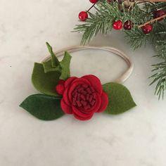 christmas felt flower baby headband