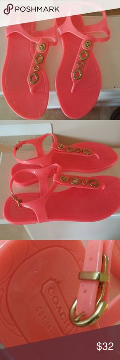 ❤COACH❤Coral Spa Beach Pool Sandals NEW never worn..Authentic Coach  Adorable rubber sandals for spring & summer. Coach logo sole & brass handware. ❤ Coach Shoes Sandals