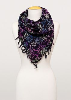 A perfect blend of comfort and style, bring some handcrafted beauty to your wardrobe. Artisans use the batik process to bring out the darkly seductive floral design edged by swingy tassels. Chunky Scarves, Oversized Scarf, Midnight Garden, Spring Scarves, Handmade Scarves, Anniversary Gift For Her, Floral Scarf, Scarf Styles, Fair Trade