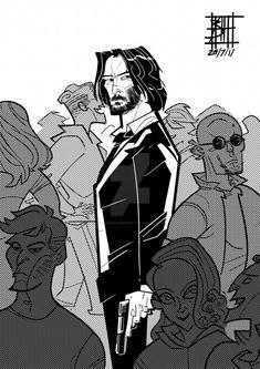 ~Boat Against Humanity - John Wick~ Baba Yaga, Comic Books Art, Comic Art, Character Art, Character Design, Arte Dope, Bd Art, Keanu Reeves John Wick, Movies And Series