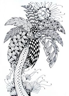 Free printable difficult grown-up coloring pages Summer, Creative leisure activities, Beautiful drawings Palm tree, Drawing Summer Palm tree 8 Palm Tree Sketch, Palm Tree Drawing, Tree Sketches, Summer Coloring Pages, Tree Coloring Page, Printable Adult Coloring Pages, Doodle Art Drawing, Zentangle Drawings, Zentangle Patterns