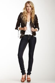 Leather jacket, white tee, dark True Religion Jeans. Classic, chic go-to outfit. LOVE