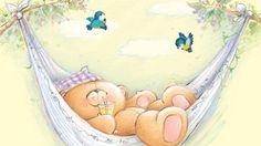 Teddy Rest - sleep, children, birds, summer, rest, hammock, sweet, animal, teddy…