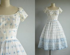 Vintage 50s Party Dress / 1950s White Baby Blue Eyelet Lace Organdy Prom Cupcake Dress with Full Skirt by zestvintage on Etsy https://www.etsy.com/listing/226202680/vintage-50s-party-dress-1950s-white-baby