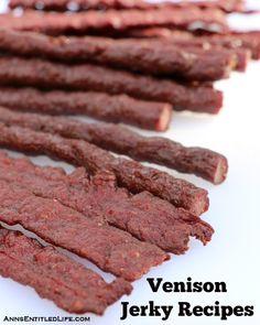 Recipes for making venison jerky (deer meat jerky) with step by step instructions.or maybe grass fed beef jerky? Smoker Jerky Recipes, Venison Jerky Recipe, Venison Recipes, Elk Jerky Recipe Dehydrator, Food Dehydrator, Roast Brisket, Beef Tenderloin, Pork Roast, Beef Jerky