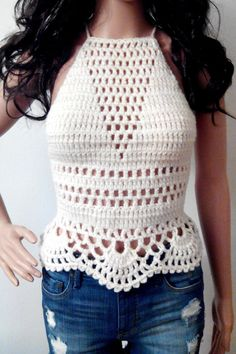 Free Shipping CREAM CROCHET TOP Halter Bandeau Corset by EliSmile