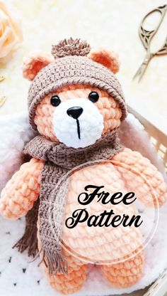 Cool Free Amigurumi Teddy Bear Pattern for amigurumi patterns free; amigurumi for beginners; Crochet Teddy Bear Pattern, Knitted Teddy Bear, Crochet Patterns Amigurumi, Crochet Dolls, Crochet Baby, Amigurumi Minta, Stuffed Animal Patterns, Crochet Animals, Knitting