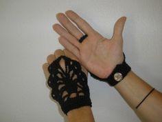 crocheted steam punk black hand jewelry