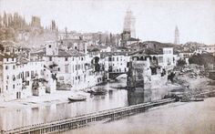 Verona - The Adige River by the entrance to the Isolo (from Rizzardi Archive) - 1860 - photo on paper