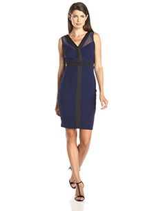 Sangria Womens VNeck Textured Scuba Sheath Dress with Mesh Details NavyBlack 6 *** Want to know more, click on the image.