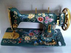 Máquina de costura pintada a mão por mim, bauernmalerei.