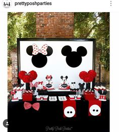 Mickey and Minnie Mouse Birthday Party Dessert Table and Decor