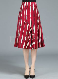 Brief Hit Color A Line Skirt | Ezpopsy.com Blouse And Skirt, Dress Skirt, Style And Grace, A Line Skirts, Fashion Forward, Fashion Online, Style Inspiration, Womens Fashion, How To Wear