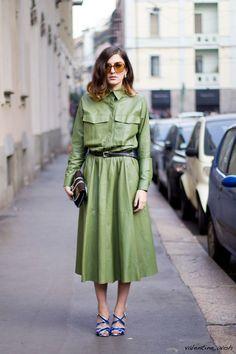 Eleonora Carisi in green leather dress
