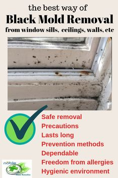 Black Mold presence causes allergies. Also, it can ruin your house and health of course. Here are safe ways to remove black mold from window sills, ceilings, bathroom and so on. Know the precautions while removing the black mold. Effective and dependable. Cleaning Mold, Household Cleaning Tips, House Cleaning Tips, Cleaning Hacks, Cleaning Recipes, Spring Cleaning, Clean Black Mold, Remove Black Mold, Remove Mold