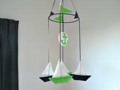 Nautical sailboat mobile - Yachts in navy blue, lime green and white - Nursery kids children decor. $75.00, via Etsy.