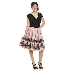 S.L. Fashions Plus Size Black and Rose Shantung Print Party Dress