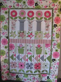 Row Quilt by clammon, via Flickr...Love this row by row idea and the pink and green color scheme