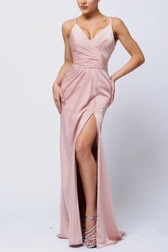 -+Maxi+Dress+ -+Sleeveless -+High+Front+Slit+ -+Deep+V+Neckline+ -+Back+Ruching+ -+Double+Strap+ -+Back+Zipper+ -+Fits+True+To+Size+  Check+out+our+sizing+chart+for+sizing+details.+